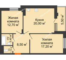 2 комнатная квартира 63,5 м² в ЖК Вересаево, дом Литер 5/1 - планировка