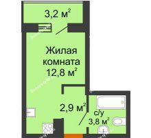 1 комнатная квартира 21,1 м² в ЖК Самолет 2, дом Литер 3 - планировка