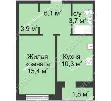 1 комнатная квартира 41,2 м² - ЖК Дом на Иванова