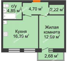 1 комнатная квартира 41,65 м², ЖК На Высоте - планировка