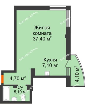 1 комнатная квартира 55,5 м² - ЖК Южная Башня