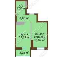 1 комнатная квартира 38,18 м² в ЖК Красная поляна, дом № 8