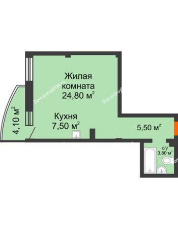 1 комнатная квартира 42,8 м² - ЖК Южная Башня