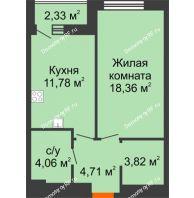 1 комнатная квартира 43,9 м² в ЖК Россия. Пять Столиц, дом 4 этап  - планировка