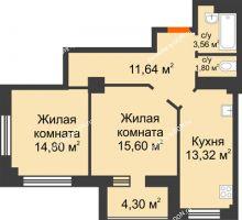 2 комнатная квартира 62,87 м² в ЖК Звезда, дом № 1 - планировка
