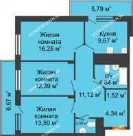 3 комнатная квартира 80,75 м² в ЖК Циолковский, дом № 6 - планировка