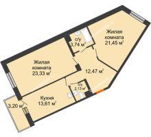 2 комнатная квартира 76,73 м² в ЖК Новый Академгородок, дом № 2 - планировка