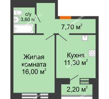1 комнатная квартира 39,7 м² в ЖК НОРД, дом № 13 - планировка