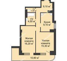 2 комнатная квартира 61,1 м², ЖК 8 марта - планировка