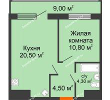 1 комнатная квартира 49,1 м², ЖК Дом № II-3 в мкр. Елецкий - планировка