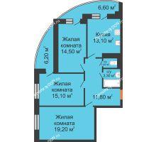 3 комнатная квартира 84,8 м² в ЖК Вересаево, дом Литер 7/2 - планировка