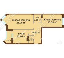 2 комнатная квартира 70,7 м² - ЖК Грани