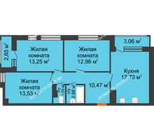 3 комнатная квартира 78,2 м² в ЖК Книги, дом № 1 - планировка
