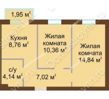 2 комнатная квартира 45,71 м² в ЖК Каменки, дом №14
