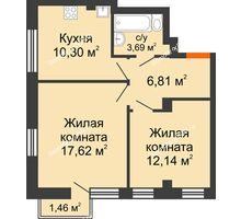 2 комнатная квартира 51,77 м², ЖК Онегин - планировка